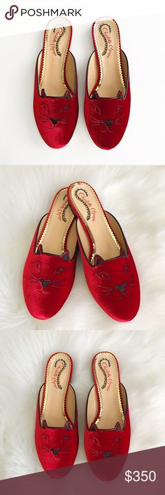 Charlotte Olympia shoes Authentic Charlotte Olympia velvet mule. Velvet textile upper features an embroidered cat face with ears. Slip-on design. Charlotte Olympia Shoes
