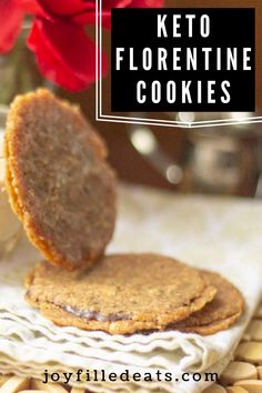 This Florentine Cookies Recipe is an easy but impressive treat to serve your guests or gift at the holidays. Wrapped up in cellophane and tied with a ribbon you can win over the pickiest gift recipient. Dessert is my favorite meal. And this sugar free treat is one of my favorites! This easy recipe is low carb, keto, gluten free, grain free, sugar free, and Trim Healthy Mama friendly. Trim Healthy Recipes, Low Sugar Recipes, Cream Recipes, Sugar Free Treats, Sugar Free Desserts, Healthy Desserts, Keto Dessert Easy, Dessert Recipes, Florentine Cookies Recipe
