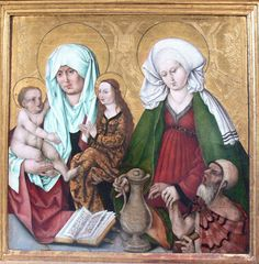 Wohlgemut, Michael, Madonna and Child with Saint Anne and Saint Elisabeth of Hungary, 1506-08, Predella of the High altar City Church, Schwabach, Germany