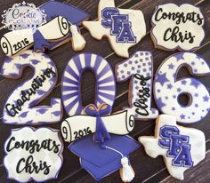 "130 Likes, 1 Comments - Anna Parnell (@cookieoccasions_) on Instagram: ""Congratulations SFA Graduate! #sugarcookies #decoratedcookies #customcookies #cookieoccasions…"""