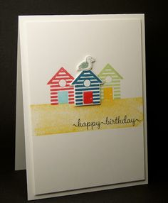 card beach summer sea sand beach hut house On The Beach & Sweet Little Sentiments