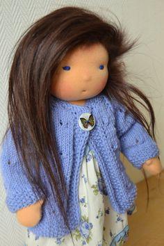 Audrey - Handmade Waldorf Doll with night gown pyjamas - All Natural,  Mongolian Kidassia  goat fur hair