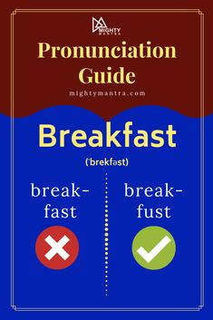 """Learn how to pronounce the word, """"Breakfast"""". Study English Grammar, English Writing Skills, English Vocabulary Words, Learn English Words, English Language Learning, English Lessons, English Class, Interesting English Words, Confusing Words"""