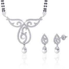 Bollywood Rhodium Pearl CZ Ethnic Wedding Bridal India Mangalsutra Earring PM42S on eBay!