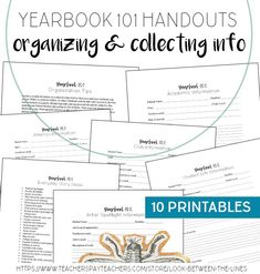 Give your yearbook staff members the tools they need to get organized with their assignments, ask questions that get detailed answers, and what information to collect for well rounded coverage. 10 printables are included! Elementary Yearbook Ideas, Teaching Yearbook, Yearbook Class, Yearbook Design, Elementary Schools, Tools For Teaching, Teaching Jobs, Visual Art Lessons, Cross Curricular