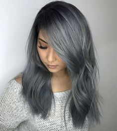 Super Side Part----We mentioned earlier how side parts could cause a sexy effect, but if you want to take it one step further, try moving even further to the one hand to intensify the tantalizing appeal. With a little bit of curl and a flashy color, Silver Ombre Short Hair, Blue Grey Hair, Brown Hair Colors, Ombre Hair, Balayage Hair, Grey Dyed Hair, Dark Silver Hair, Grey Wig, Grey Ombre