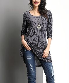 Look at this #zulilyfind! Charcoal Floral Empire-Waist Tunic Dress #zulilyfinds