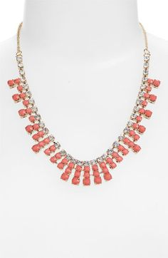 BP. Rhinestone Bib Necklace   Nordstrom $7.98  Such a cute statement necklace in the perfect peachy-coral color. This piece would effortlessly dress up a plain old white tee shirt, or heighten the glam factor of a sheer, chiffon button-down.