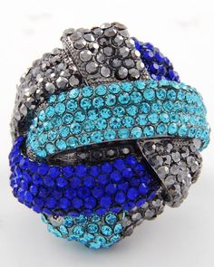 Sapphire & Hematite Rhinestones Abstract Stretch Ring