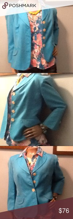 Ann Taylor Turquoise Short blazer New with tags...never worn...Beautiful blazer....3 quarter sleeves...75 % cotton 24 percent silk lining 55% acetone and 26% rayon...Gorgeous lines....pair with skirt...Solid or print...pair with a dress, jeans capris....Dress up or down...perfectly pairs with your fav  jeans. If you love this item....don't hesitate to hit the offer button....😇 just remember to put yourself in the sellers shoes..... Any Reasonable and respectable offers will definitely be…
