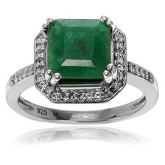Journee Collection Sterling Silver 1 3/8 Carat Emerald Topaz Accent Square Ring (Size- ) Women's