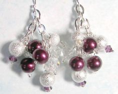 Winter Holiday Earring Berry Pearl Silver by SeagullSmithJewelry White Burgundy, Burgundy Wine, Burgundy Color, Pink Brown, Brown And Grey, Cluster Earrings, Dangle Earrings, Burgundy Fashion, Pearl Color