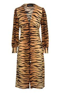 Réalisation Par Vivienne In Tiger Mid-length Casual Maxi Dress Size 0 (XS) Midi Dresses Uk, Silk Midi Dress, Long Sleeve Midi Dress, Tiger Print Dress, Realisation Par, The Vivienne, Button Front Dress, Casual