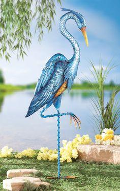 Blue Heron Metal Crane Bird Statue Stake Yard Art Lawn Ornament Garden Decor NEW