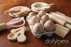 Wooden Play Kitchen Utensils - maybe like this, or painted okay if nontoxic
