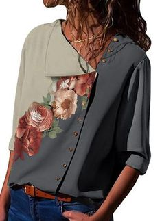 Floral V-Neck Short Sleeves Casual Elegant Blouses - Blouses - veryvoga Style Casual, Casual Tops, Casual Wear, Western Dress Online Shopping, African Dress, Women's Fashion Dresses, Fashion Blouses, Blouses For Women, Fashion Clothes