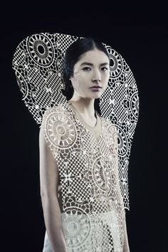 Sculptural Fashion with intricate laser cut patterns & 3D silhouette; creative fashion // Kamilya Kuspan