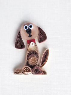 Im Sorry quilled handmade card Dog doggy animal note card brown with envelope cute. $7.60, via Etsy.