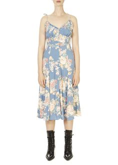 'Cottage Rituals' Blue Floral Midi Dress | Jessimara