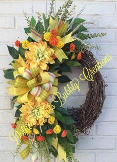 Spring/Summer Dahlia Floral Grapevine Wreath Floral Wreath, Summer Wreath, Spring Wreath, Grapevine Wreath (Ready To Ship) Spring Door Wreaths, Easter Wreaths, Summer Wreath, Holiday Wreaths, Outdoor Wreaths, Wreath Crafts, Wreath Ideas, Grapevine Wreath, Tulle Wreath
