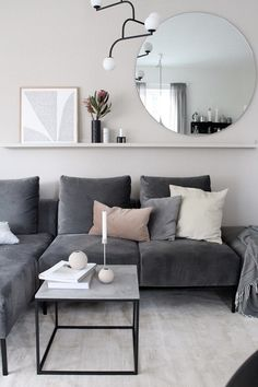 Shelf behind couch idea Apartment Living Room Couch Idea shelf Living Room Ideas 2019, Big Living Rooms, Living Room Trends, Living Room Carpet, Living Room Grey, Living Room Modern, Living Room Designs, Small Living, Living Room Decor Behind Couch