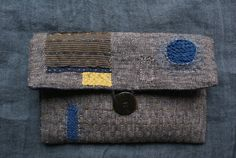 pouch in antique pepper and salt cotton and linen, hand sewn, patched and mended ...kantha/ sashiko/boro