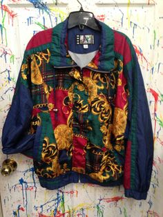 Vintage 80's windbreaker zip up jacket for both men  and women size Large red blue gold green Versace-ish motif RagsAGoGo, $28.00