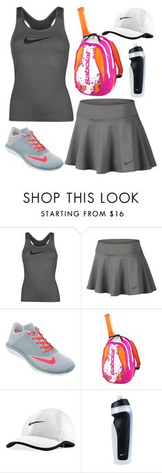 """tennis"" by freyadominique ❤ liked on Polyvore featuring NIKE and Babolat"