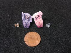 Gingham dog  Calico cat post earrings by AttisTreasures on Etsy, $5.99