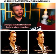 Snipers...I knew it!!<------ Oh no,Sebastian Stan admitted he is going to be in nine more  Marvel Movies. No wonder he looks soooo guilty whenever an interviewer asks him about it.