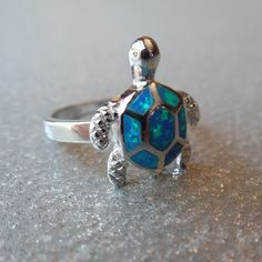Sterling Silver Created Blue Opal Turtle Ring – Sparkle & Jade