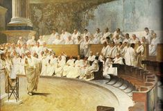 Painting of a Senate meeting in progress between Roman patricians. This was the law-making body of Rome and ruled for the people prior to the dictatorial Emperors. Fits well into my theme of the Republic era of Early Rome. Latin Phrases, Latin Words, Ancient Rome, Ancient History, Ancient Greece, Latin Language, Roman Republic, Art Of Manliness, Classical Education