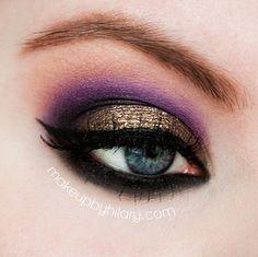 Purple and gold smokey eyeshadow #bright #metallic #eyes #eye #makeup #eyeliner #dramatic