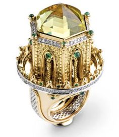 "Ring | Jean Boggio. ""Ravenne"".  Yellow and white gold, lemon quartz, diamonds and emeralds.  The dome is raised and rotates."