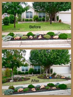 Xeriscape Backyard W Flagstone Fire Pit Amp Dry River Bed. Patio Backyard Xeriscape Landscaping Ideas Surprising For. Texas Landscaping, Landscaping Around Trees, Front Yard Landscaping, Landscaping Ideas, Backyard Ideas, Garden Ideas, No Grass Landscaping, Mulch Around Trees, Acreage Landscaping