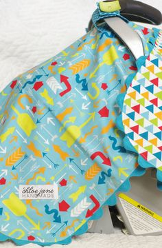 Boy's Car Seat Cover/Canopy/Tent Bright and Fun (Mixed Bag)