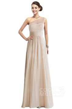Classic A-Line One Shoulder Empire Floor Length Chiffon Dark Champagne Sleeveless Zipper Bridesmaid Dress with Sashes and Draped COZF1409A #dress #cocomelody