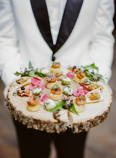 Wedding Food - This Fresh Romantic Industrial Wedding Inspiration from Two of a Kind Rentals and Rebecca Yale Photography features a fun bar sign and paper flower backdrop. Wedding Canapes, Wedding Appetizers, Wedding Catering, Wedding Venues, Wedding Locations, Wedding Gowns, Mini Appetizers, Wedding Shoes, Tapas