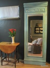 using a cheap mirror from Walmart or Target: Attach to a piece of plywood (paint it first), then add either crown molding or any other type of wooden accents diy-projects Painted Furniture, Diy Furniture, Furniture Projects, Furniture Plans, Home Interior, Interior Design, Interior Ideas, Trumeau Mirror, Diy Mirror