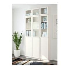 IKEA - BILLY / OXBERG, Bookcase, white/glass, , Adjustable shelves can be arranged according to your needs.Surface made from natural wood veneer.With a height extension unit, you make the most of the wall area, while freeing up space on the floor.