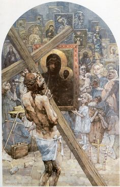 IV Estación. Cristo se encuentra a su madre. Gólgota de Jasna Góra, del pintor polaco Jerzy Duda Gracz