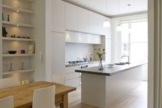 Integrated Handleless Matt Lacquer kitchen with aged Oak worktops. Oak Worktops, Handleless Kitchen, Furniture Design, Contemporary, Instagram, Table, Home Decor, Interiors, London