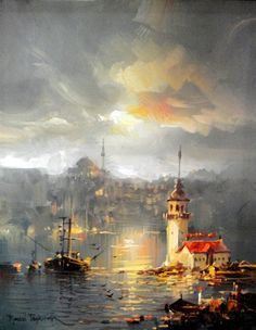 (Turkey) by Remzi Taskiran ). Oil on canvas. Oil Painting Pictures, Pictures To Paint, Bing Bilder, Energy Pictures, Turkish Art, Great Paintings, Art Oil, Les Oeuvres, Watercolor Art