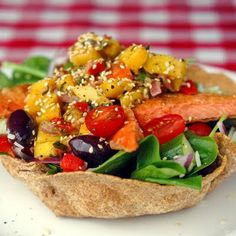 Cumin Salmon Spinach Salad Bowl with Mango-Lime Salsa #Newfoundland, #recipes, #RockRecipes, #cooking, #food, #baking, #food #photography, #family, #meals, #StJohns Twitter: @RockRecipes