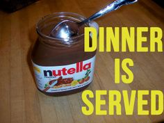 Nutella + spoon = your favorite recipe.   17 Warning Signs Your Relationship With Nutella Is Spiraling Out Of Control