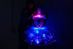 Foto de Fibra óptica, vestido luminoso del LED, traje de la etapa del LED…