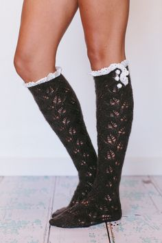 Ruffle Knitted Lacy Boot Socks Black