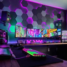 Computer Gaming Room, Computer Setup, Gaming Rooms, Gamer Setup, Gaming Room Setup, Cool Gaming Setups, Bedroom Setup, Room Ideas Bedroom, Neon Room