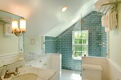 getting enough mirror space at the sink in an attic bath