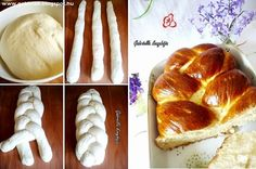 Húsvéti fonott kalács Braided Bread, Large Oven, Whole Eggs, Egg Wash, Instant Yeast, Dry Yeast, Baking Sheet, Sweet Bread, Dish Towels